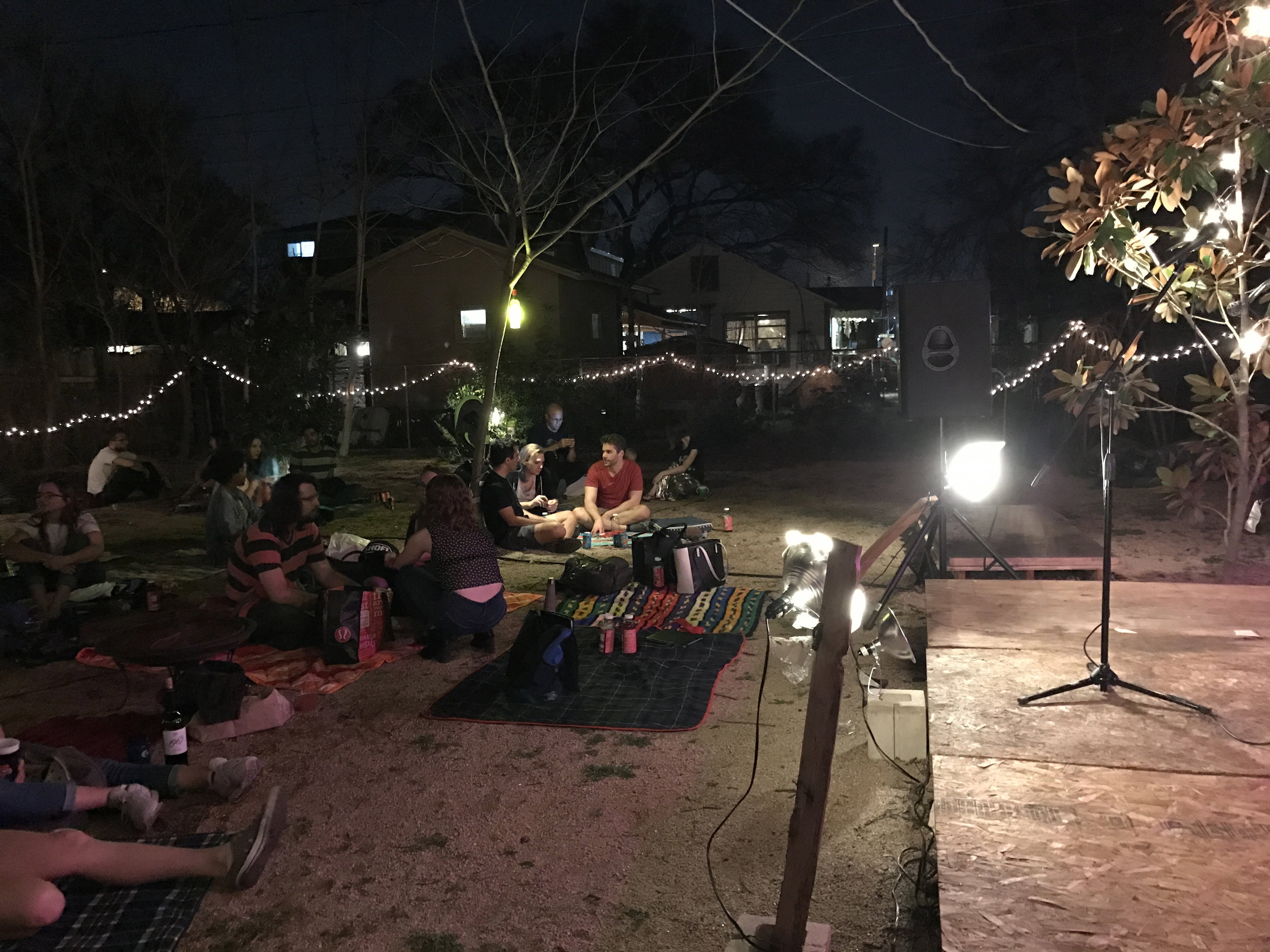 A local storytelling event held in someones back yard was well attended.