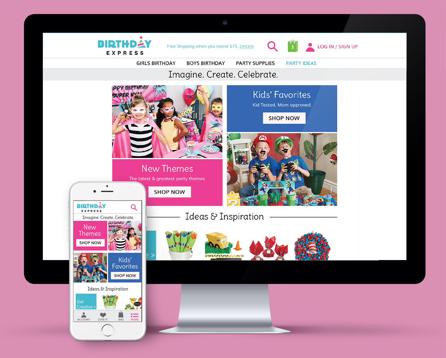replatform design for BirthdayExpress home page