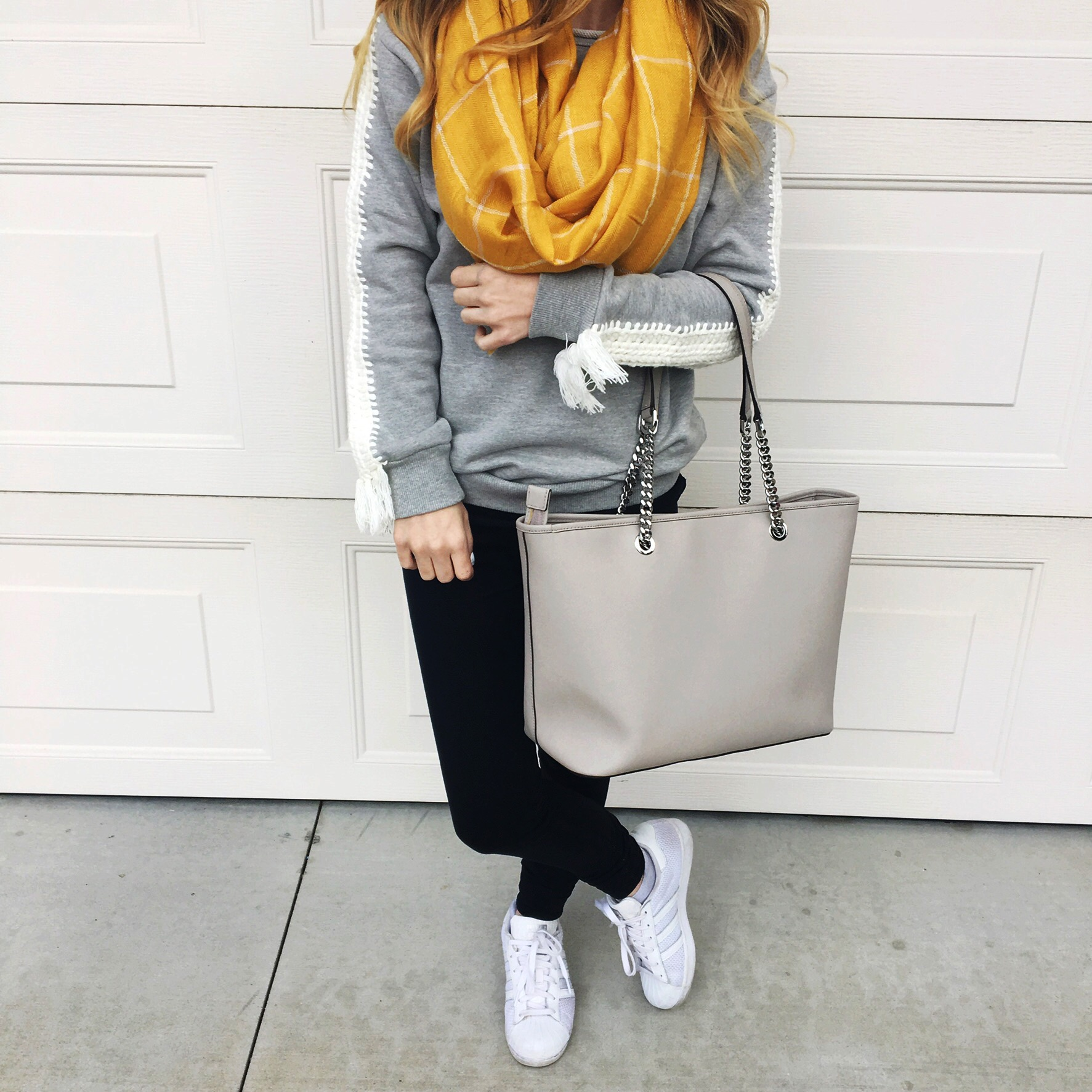 Similar Sweatshirt ,  Leggings ,  Shoes ,  Similar Scarf ,  Bag