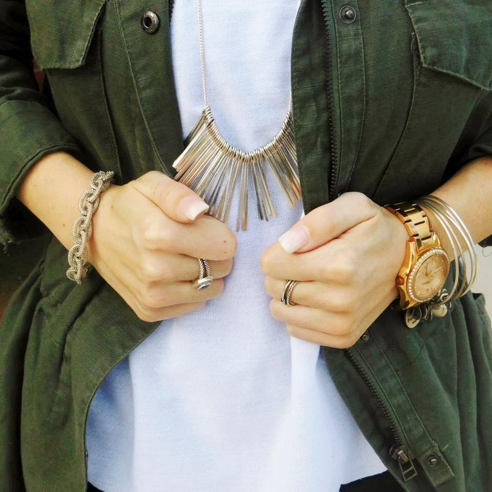 Military Jacket,   Necklace ,  David Yurman Rings
