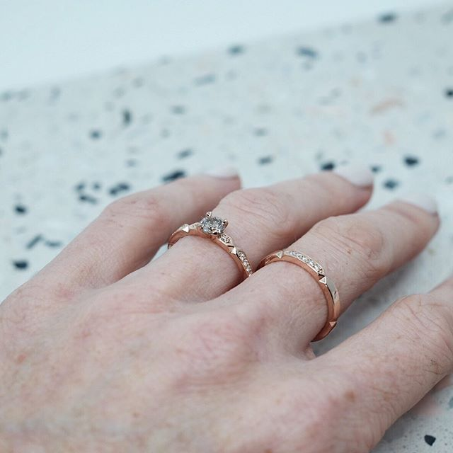 Perfect match!  A diamond set Luna ring & a custom Luna Solitaire. Both in 18ct Rose gold.  All of my styles are made to order, & therefore customizable. . . .  #ameliajewellery  #jewellerydesigner #melbournejewellerydesigner #australianjewellerydesigner  #handmadejewellery #engagementringsmelbourne #madeinmelbourne #slowfashionmovement #slowfashion #weddingrings #weddingringsmelbourne #finejewellery #finejewellerydesigner #supportlocal #supportsmall #bespokejewellery #custommadejewellery #custommadejewellerymelbourne #madetoorder #proposal #custommadeengagementrings