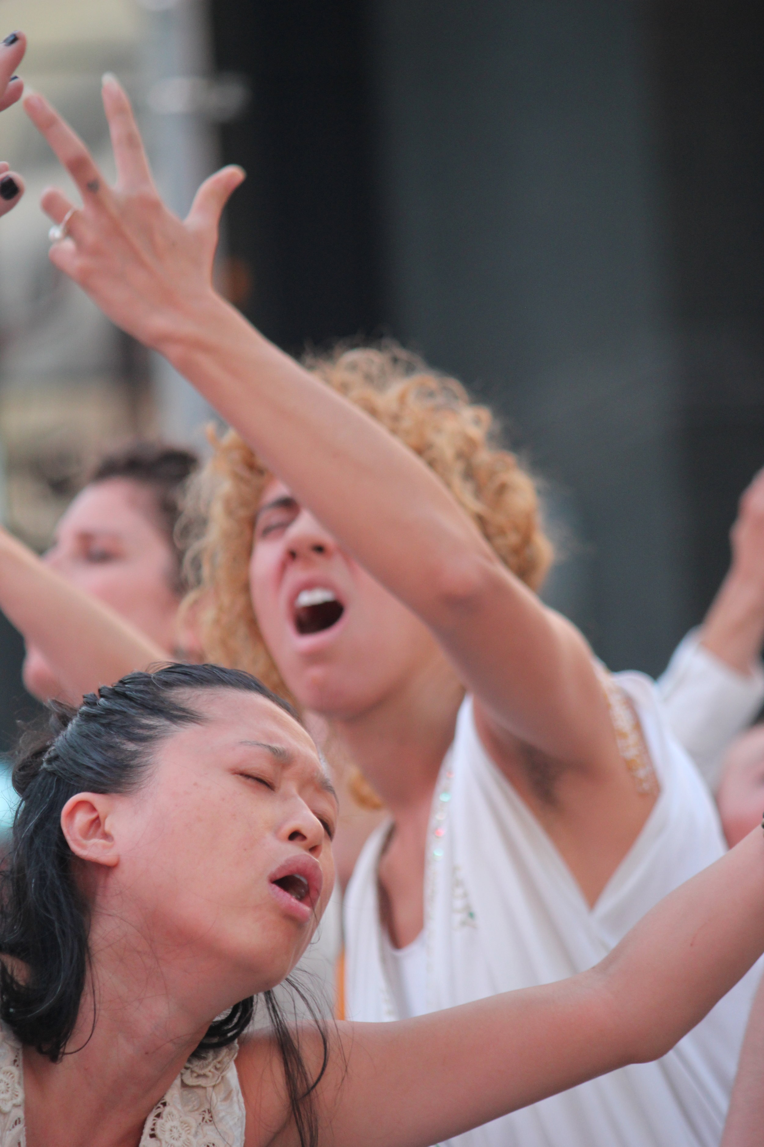 9/11 performance in Times Square - photo by Chris Carlone - Vangeline Theater and New York Butoh Institute