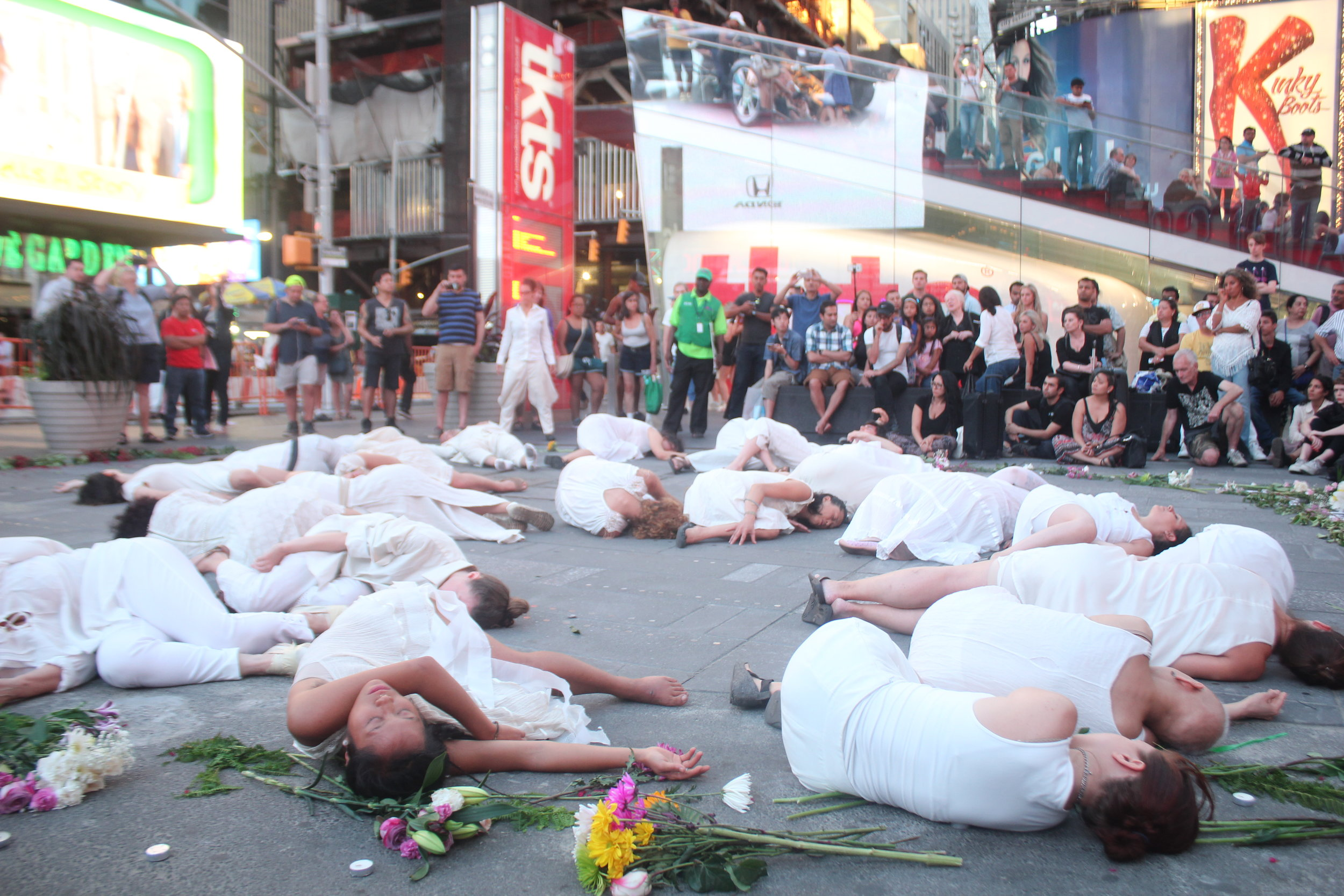 9/11 Performance in Times Square- photo by Chris Carlone- Vangeline Theater and New York Butoh Institute
