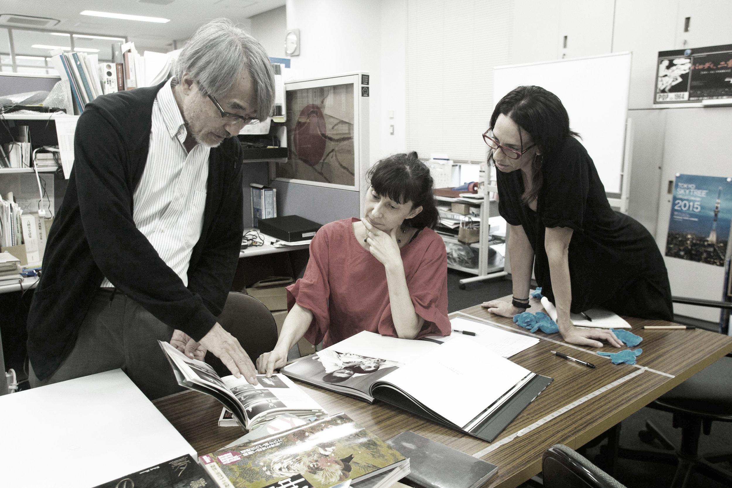Mr. Morishita, Vangeline, Azumi Oe and Shoshana Green at the Tastumi Hijikata Archives, August 10th, 2017.Photo Azumi Oe.