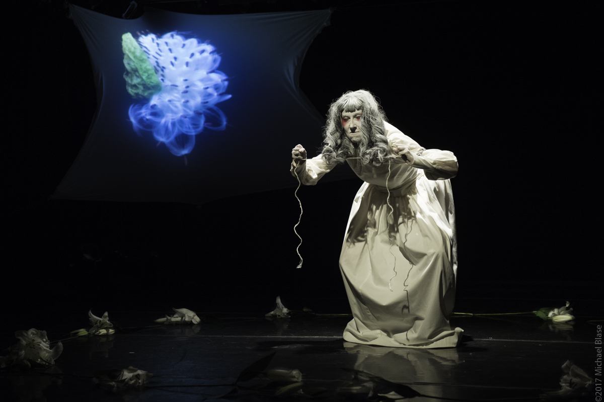 Flower - Secret, an evening of Butoh solos with Butoh Master Tetsuro Fukuhara, Vangeline, and Sindy Butz - November 17 -19, 2017 at Triskelion Arts. Photo by Michael Blase.