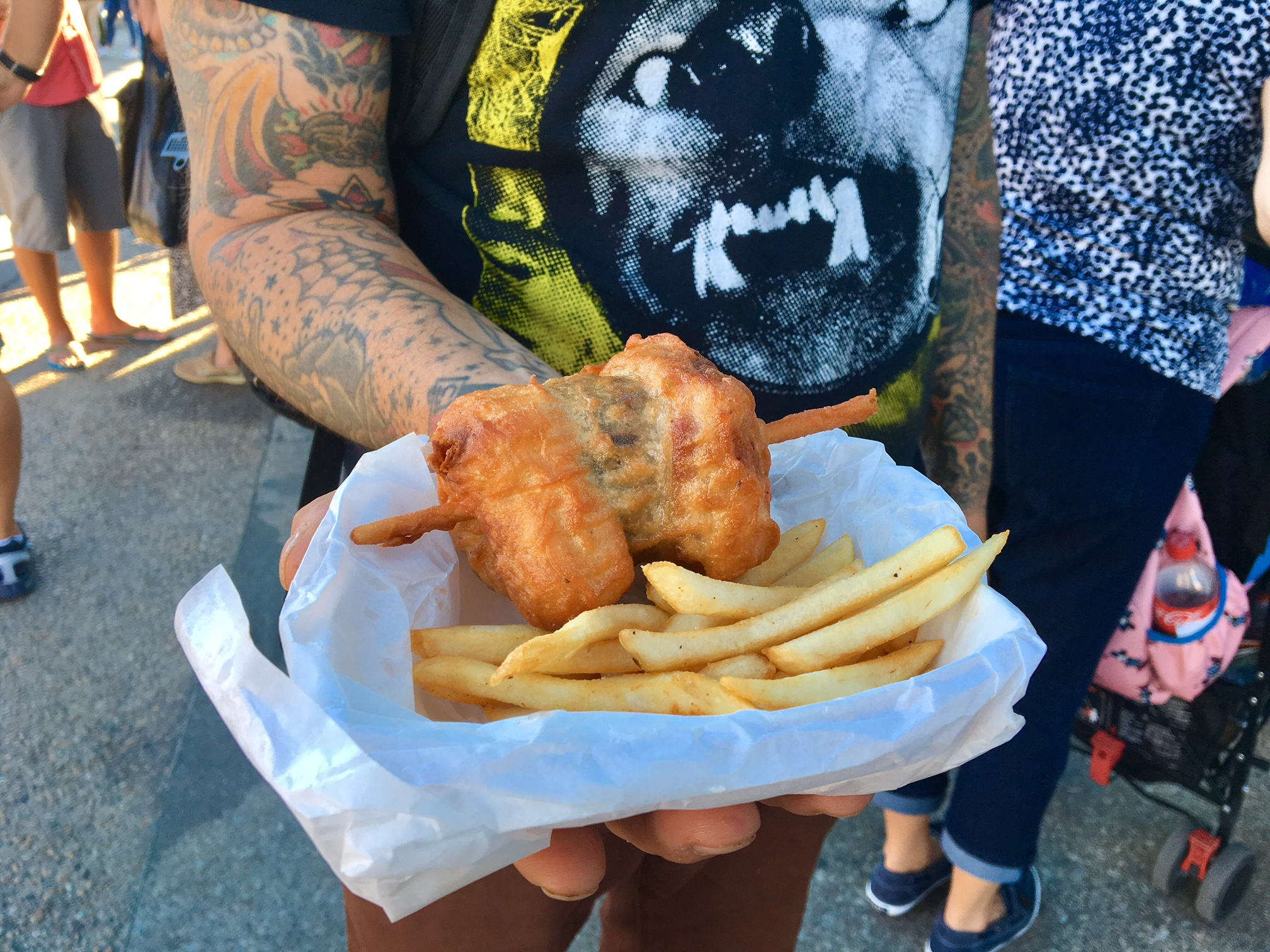 Deep Fried Bacon Burger Dog Sliders on a Stick 2016