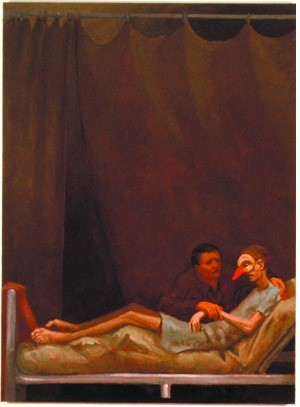 Image 5:Patrick Webb –  Lamentation of Punchinello / By Punchinello's Bed , 1992. Oil on linen. Leslie-Lohman Museum of Gay and Lesbian Art, New York.