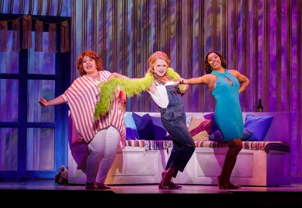 "Sarah Rudinoff as Rosie, Kendra Kassebaum as Donna and Lisa Estridge as Tanya perform ""Dancing Queen"" in  Mamma Mia! - Photo Credit Mark Kitaoka"