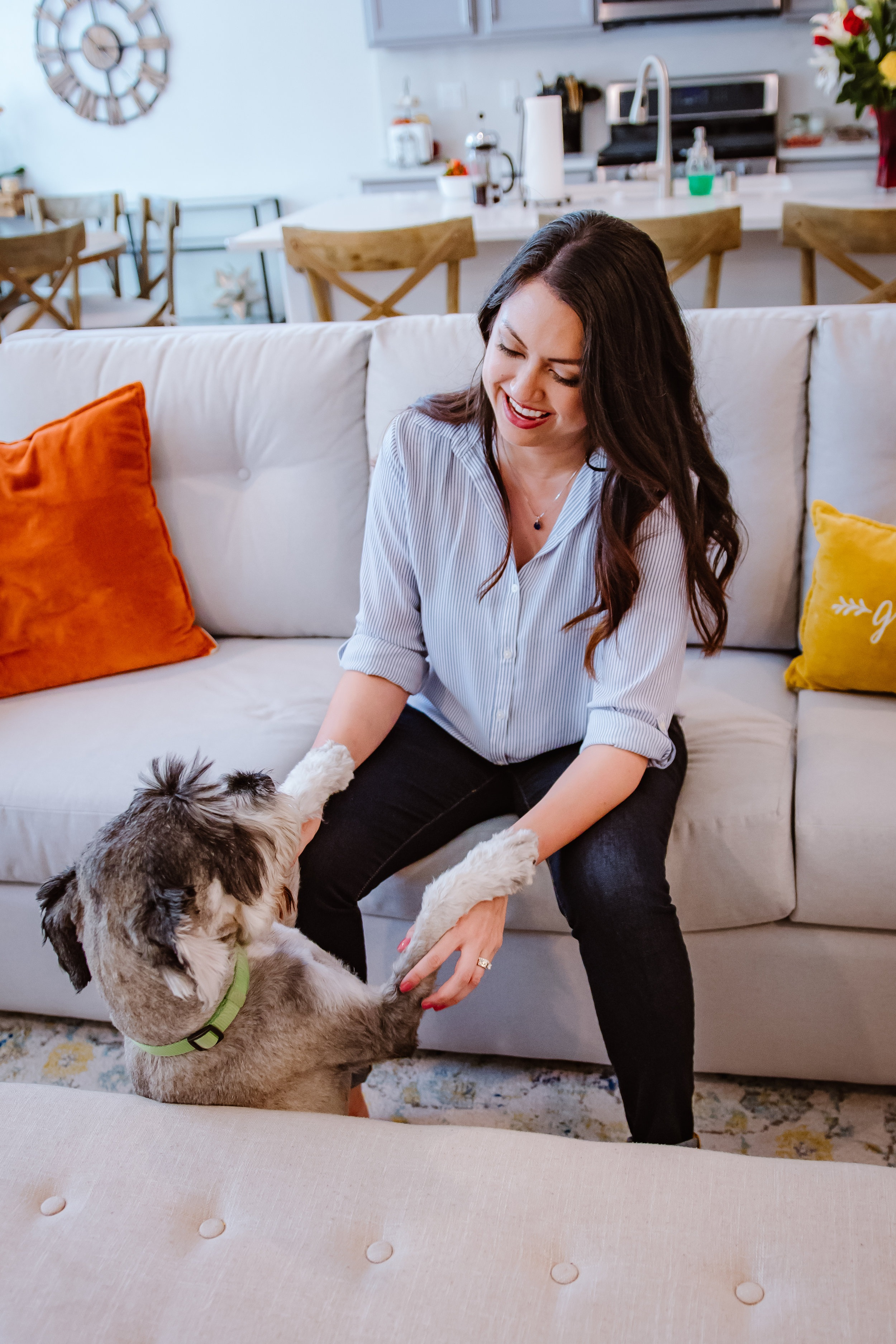 In home lifestyle branding with dog