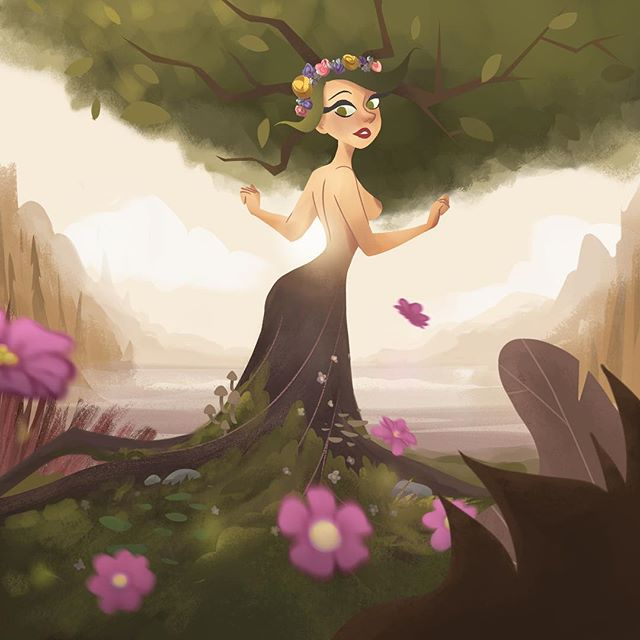 I started this painting years ago and finally had the chance to add some changes I wanted to do :) it's Daphne, a nymph from Greek mythology who turned into a tree to escape from Apollo's love #nymph #greek #mythology #girl #cute #illustration #nature #flowers #drawing #dibujo #visdev #ctnx2017 #ctn