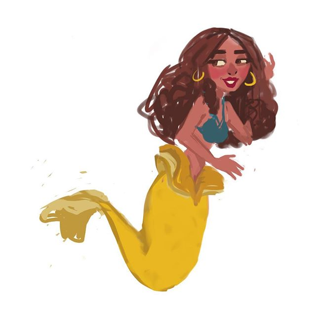 Drew this for #mermay but never posted it #sketch #drawing #sketchbook #mermaid #cute #sirena #girl #colorful #instaart #procreate #ipad