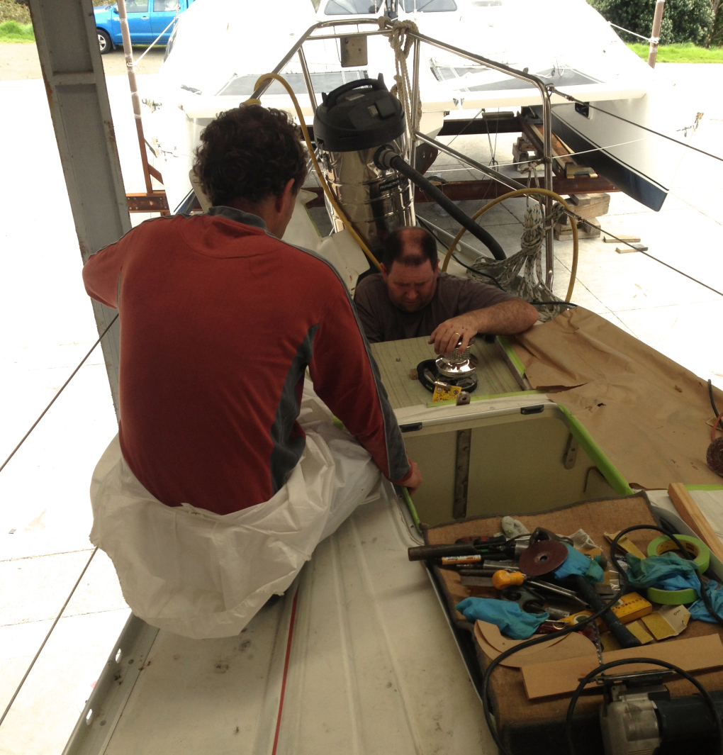 Greg and Craig fitting new anchor windlass