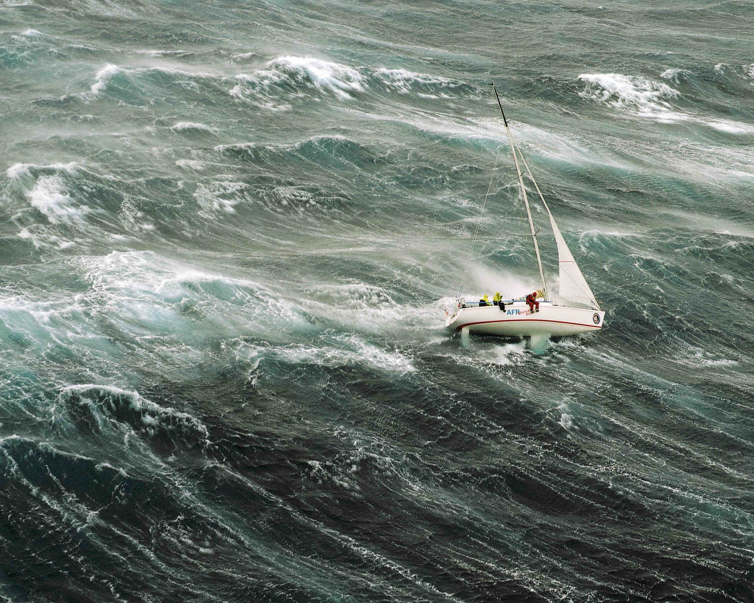 Midnight Rambler going to windward under storm jib in 1998 Sydney to Hobart