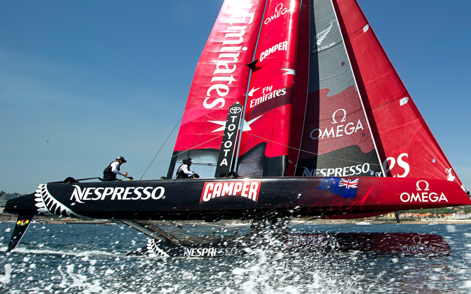 Emirates Team New Zealand in action in Americas Cup foiling catamarans capable of 40+ knots (75 km/h+)