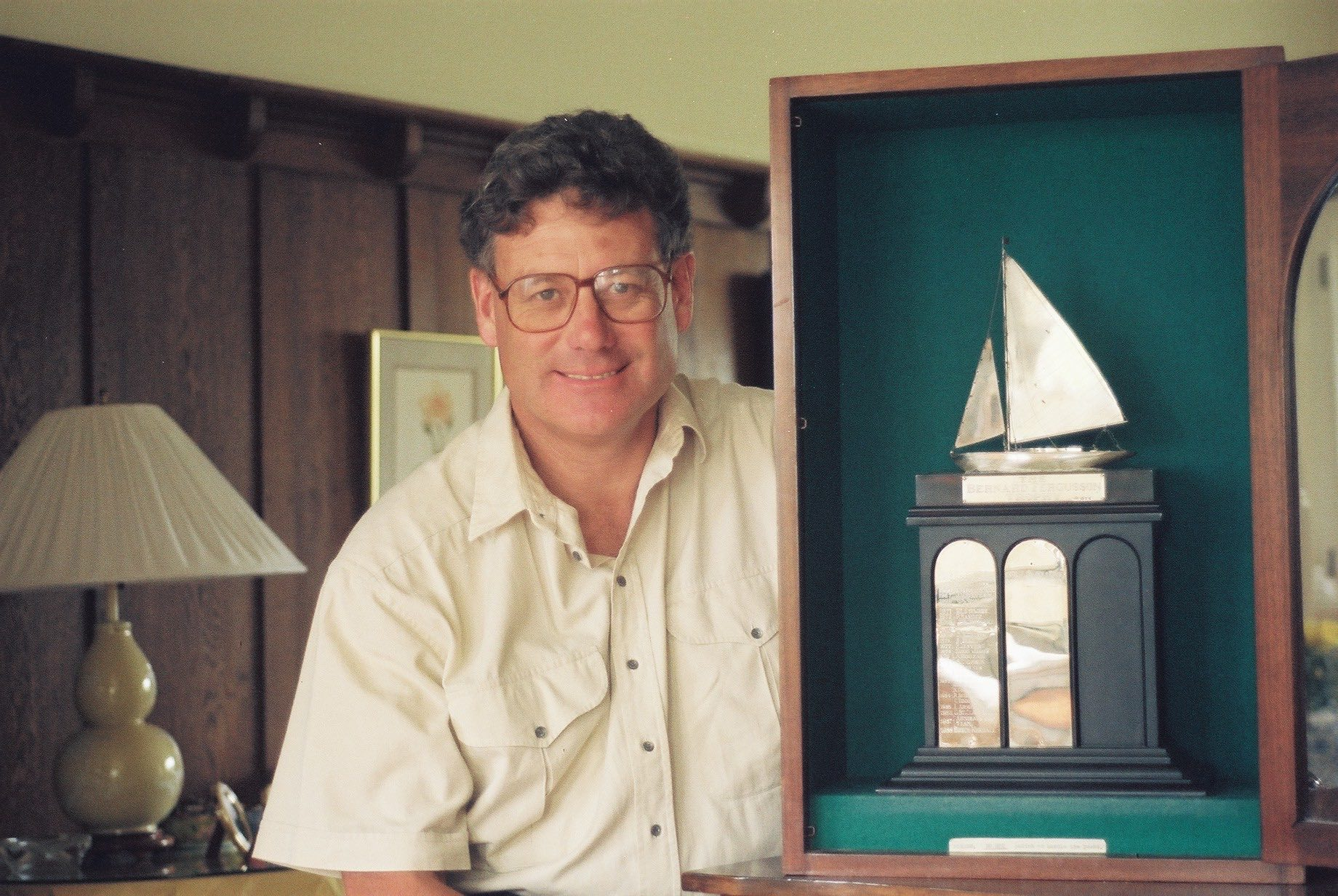 Peter Montgomery with the 1990 New Zealand Yachtsman of the Year Trophy
