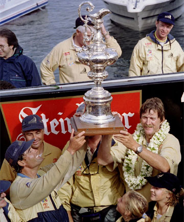 Team New Zealand wins the Americas Cup in 1995