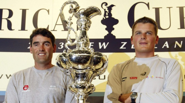 Russell giveth and Russell taketh away as he accepts the Cup as Skipper of Alinghi Switzerland 2003