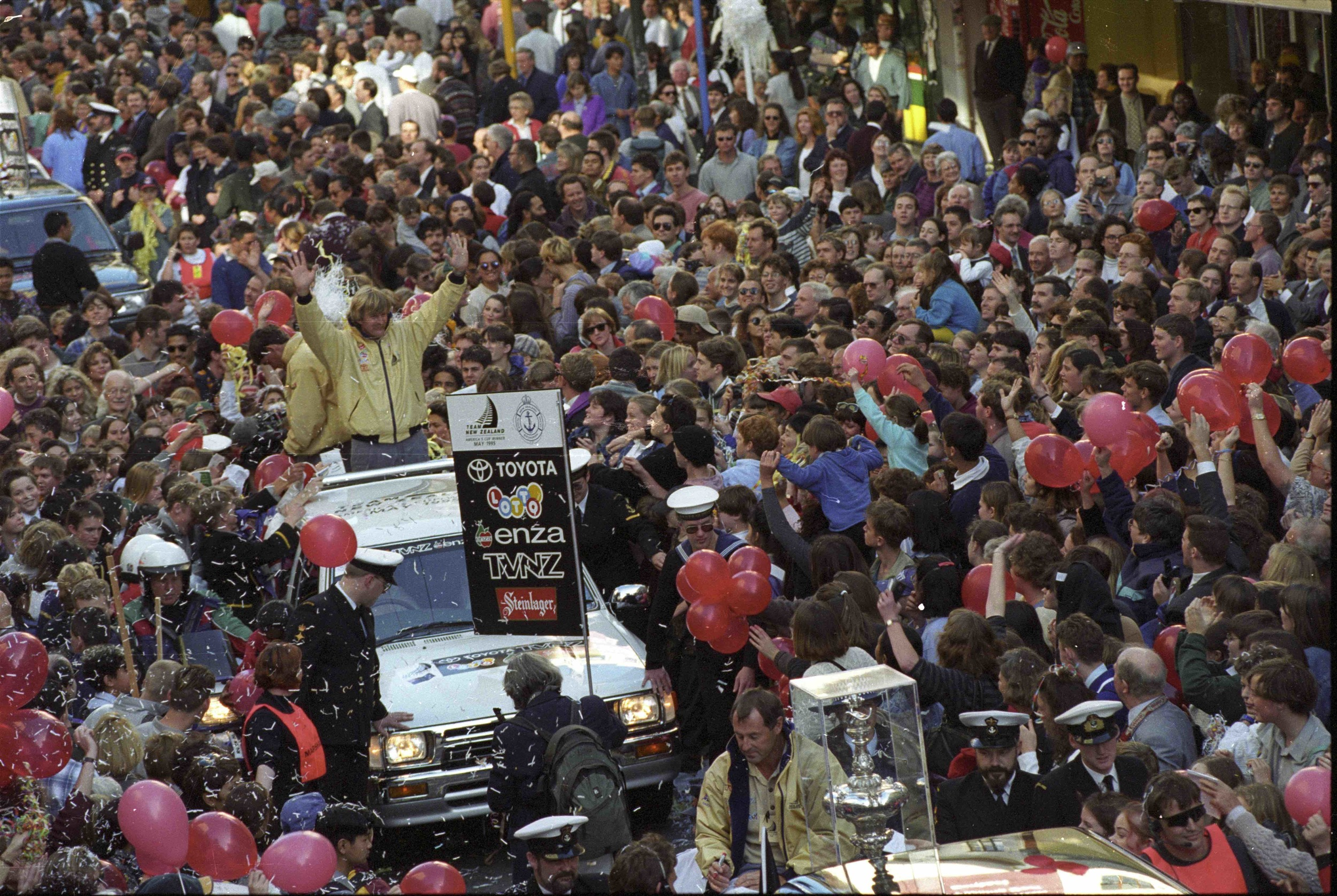In Auckland more than 400,000 turned out for the Team New Zealand Americas Cup Victory Parade in 1995