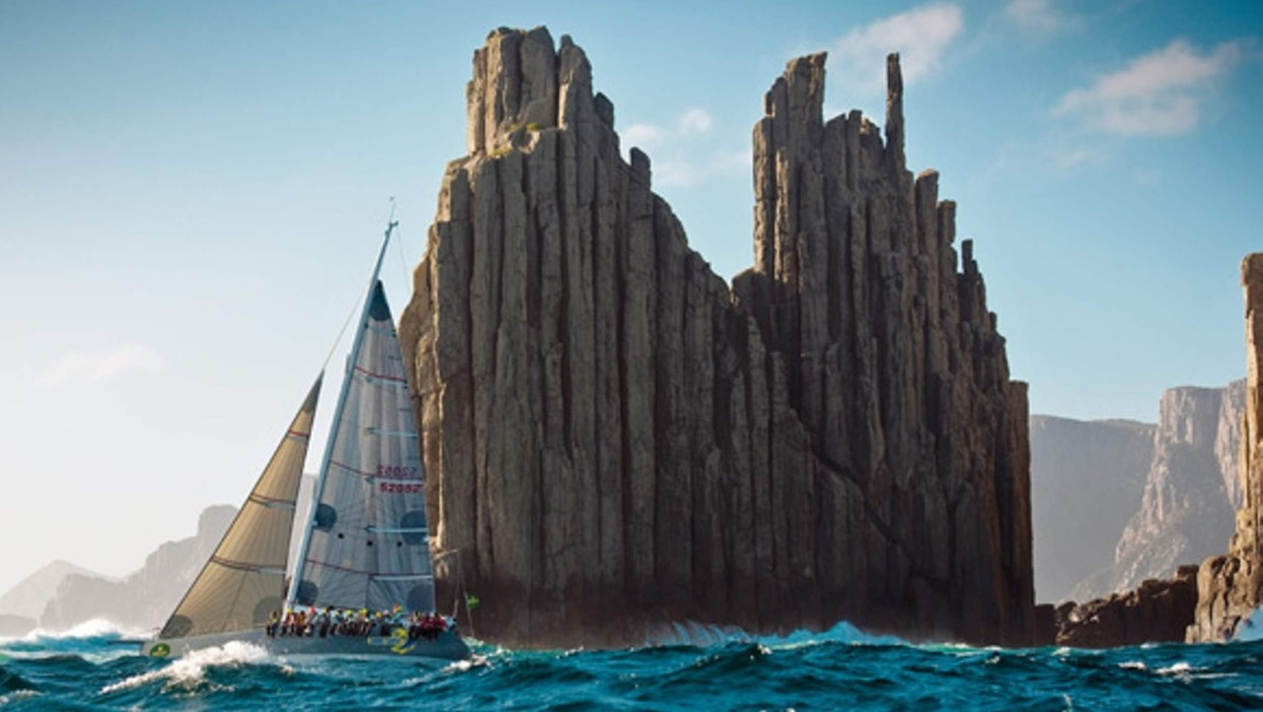 The spectacular Organ Pipes all yachts sail past in the Sydney to Hobart Race