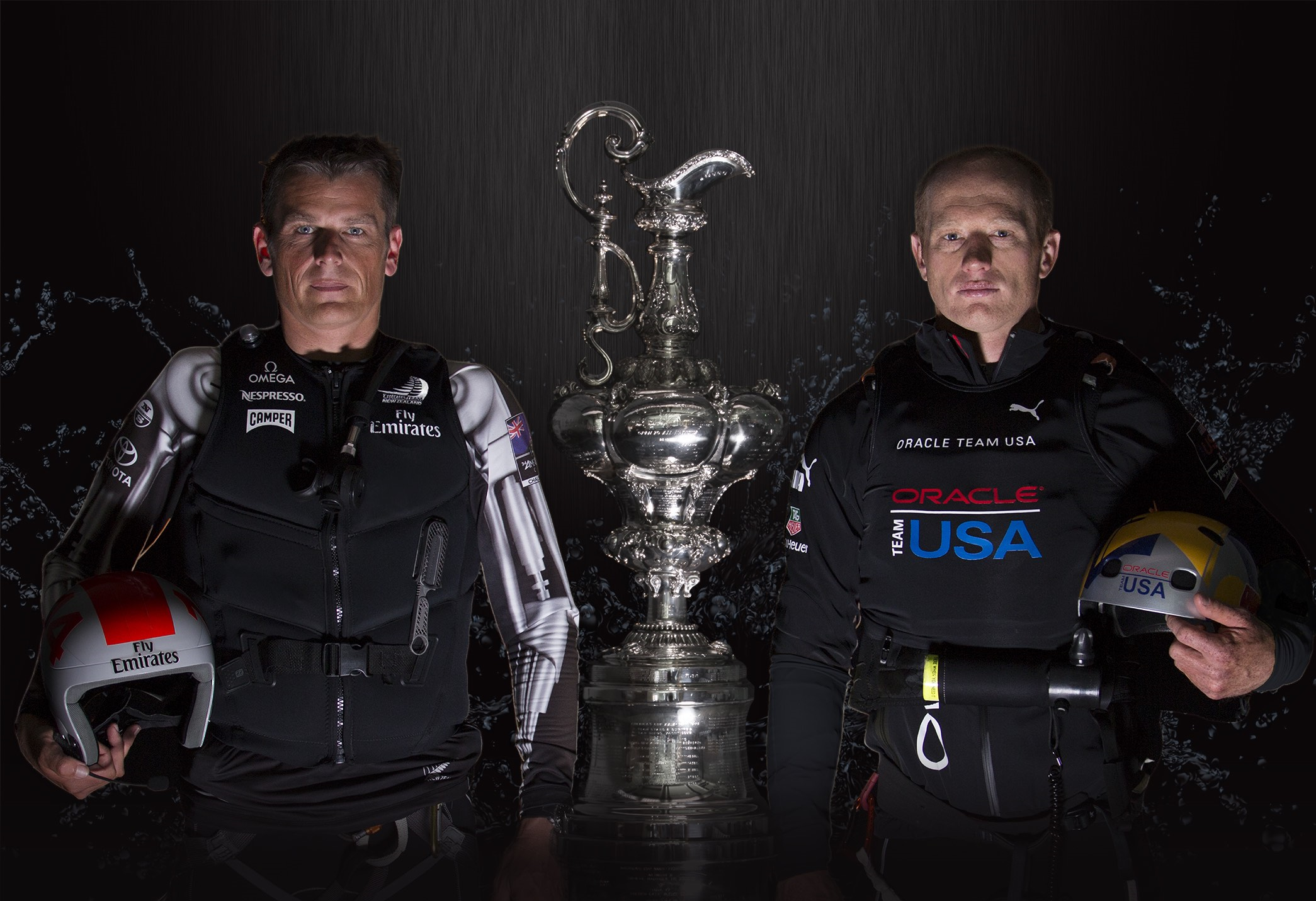 Firece Americas Cup rivals Dean Barker and Jimmy Spithill