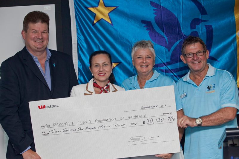 Ken Thackeray SICYC presents a cheque to the Prostate Cancer Foundation of Australia