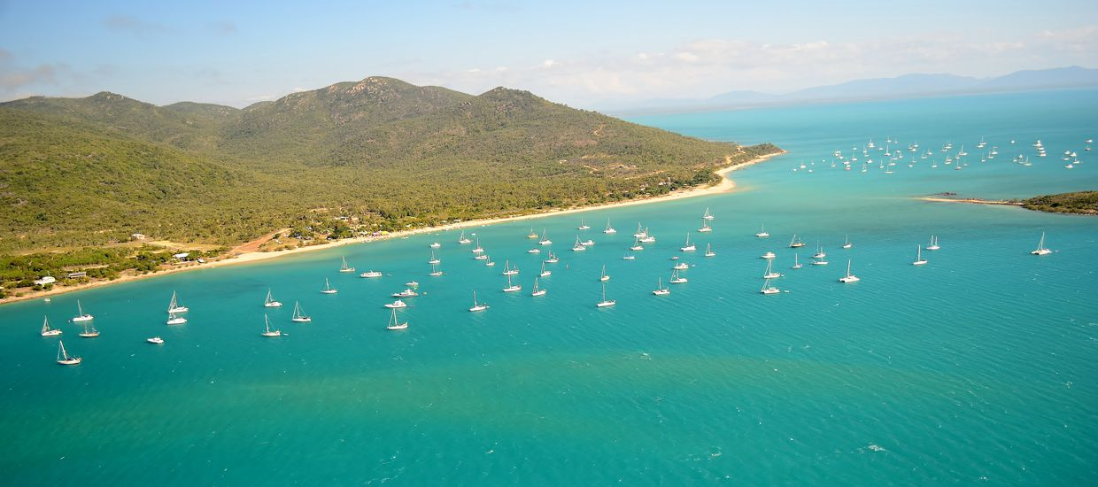200 plus boats gather each year at Shag Islet, Gloucester Passage, in the Whitsundays for the rendezvous