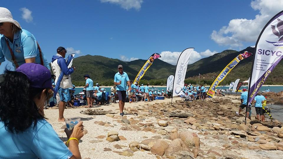 Hundreds gather for the beach party at Shag Islet