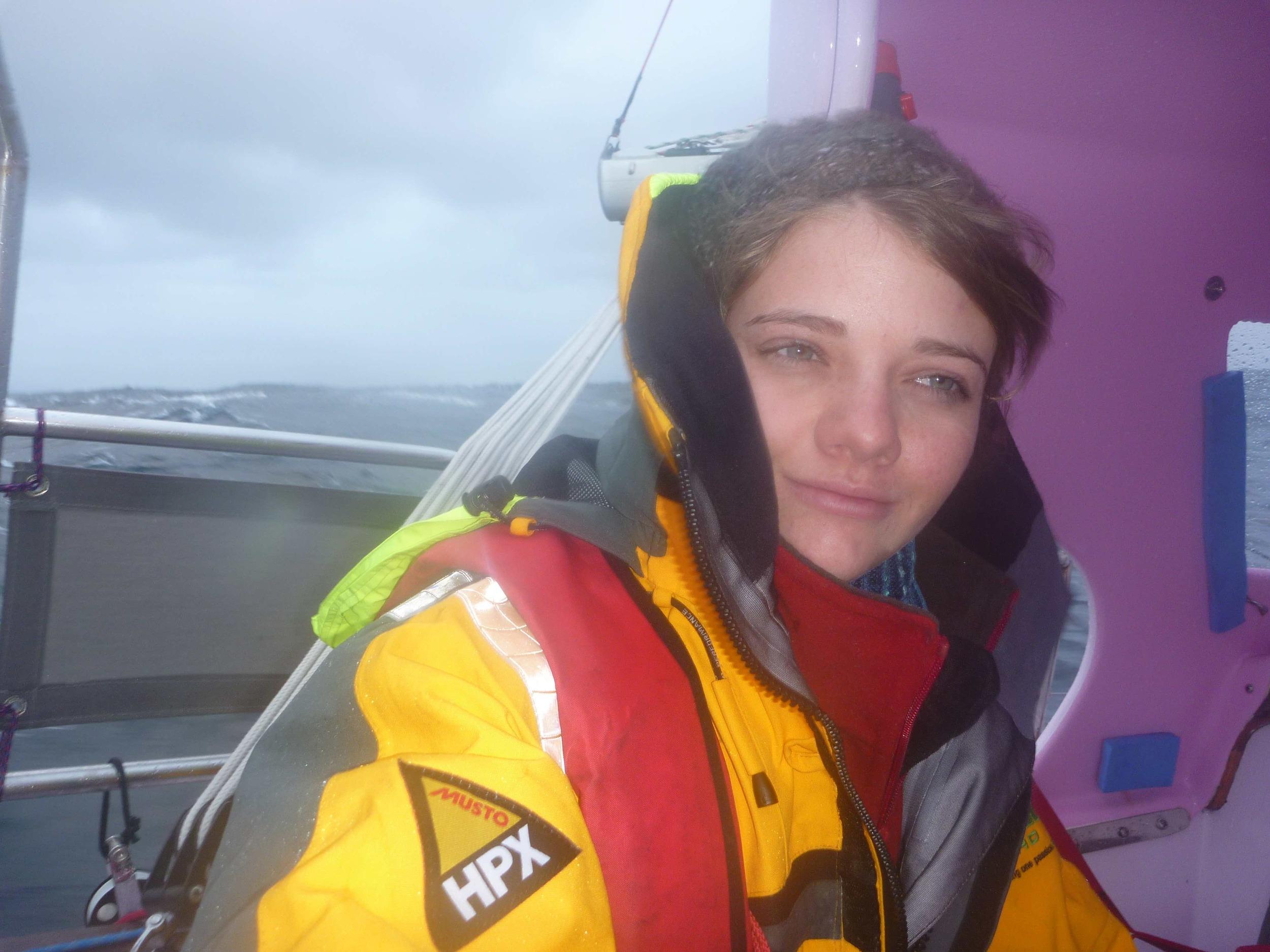 Jessica Watson rounding Cape Horn