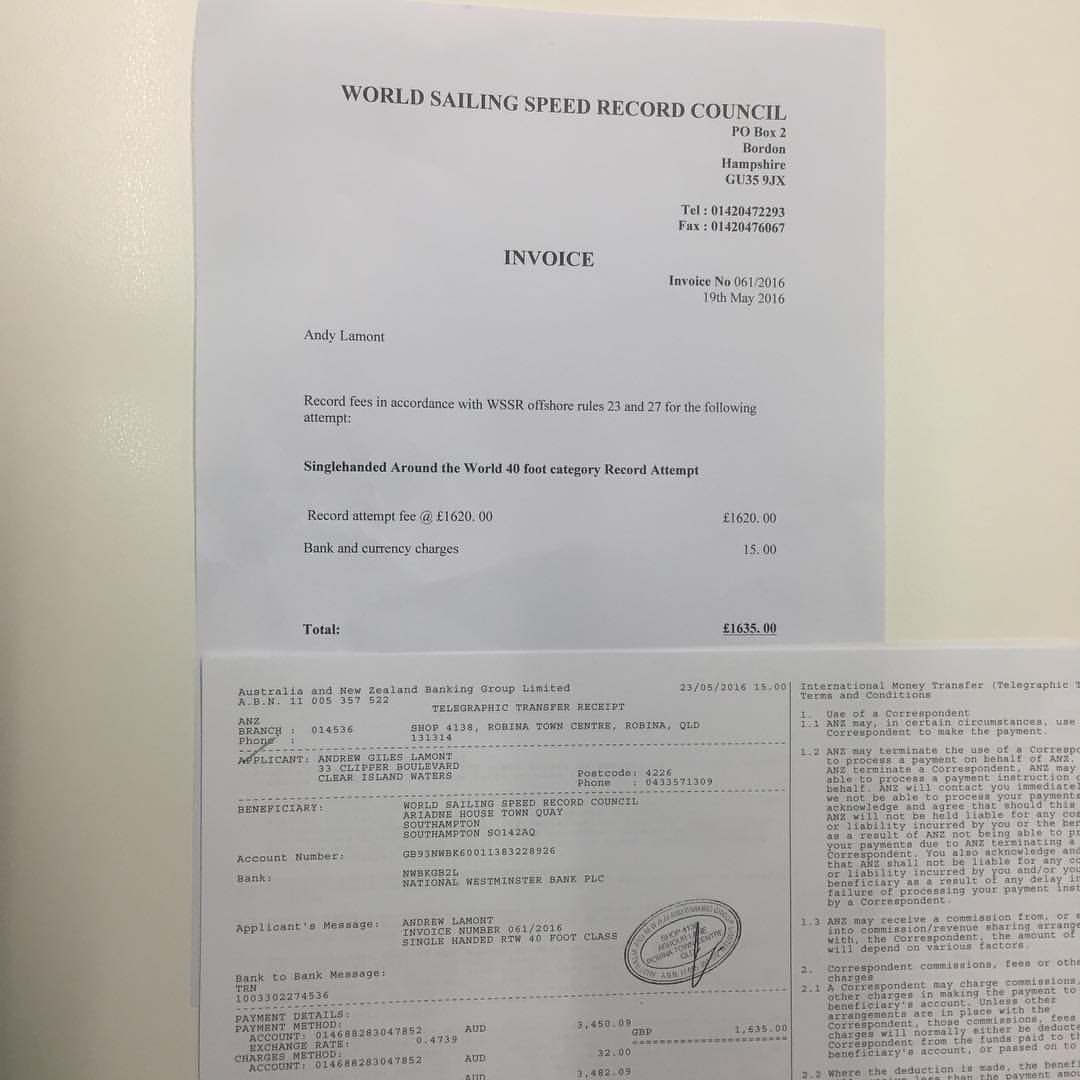 Andy Lamont's offical documents for his world record attempt