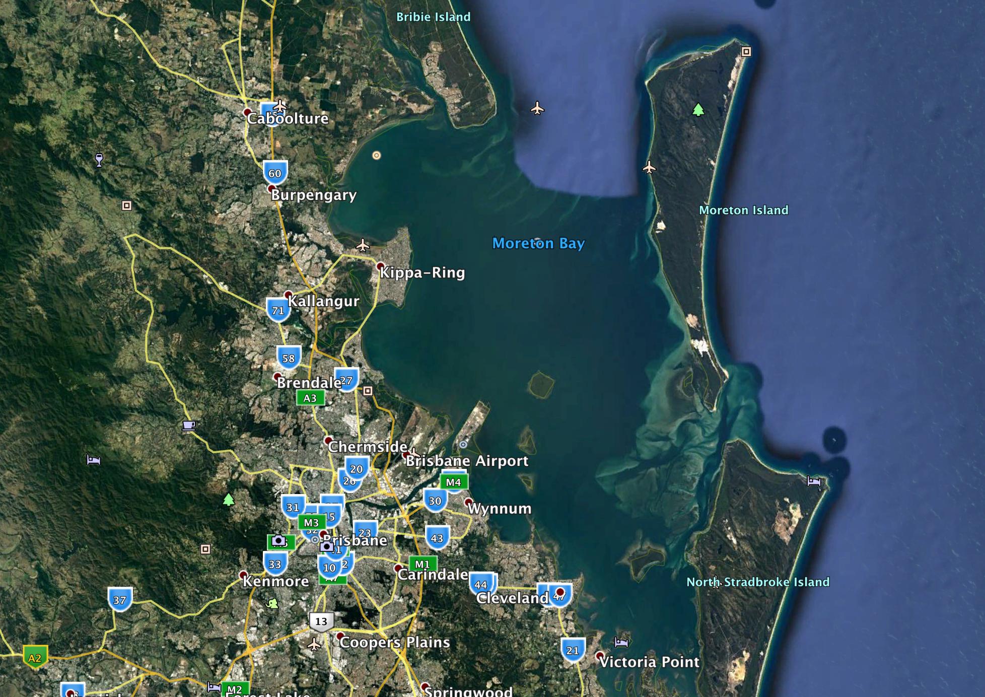 Moreton Bay, east of Brisbane a great venue for a regatta