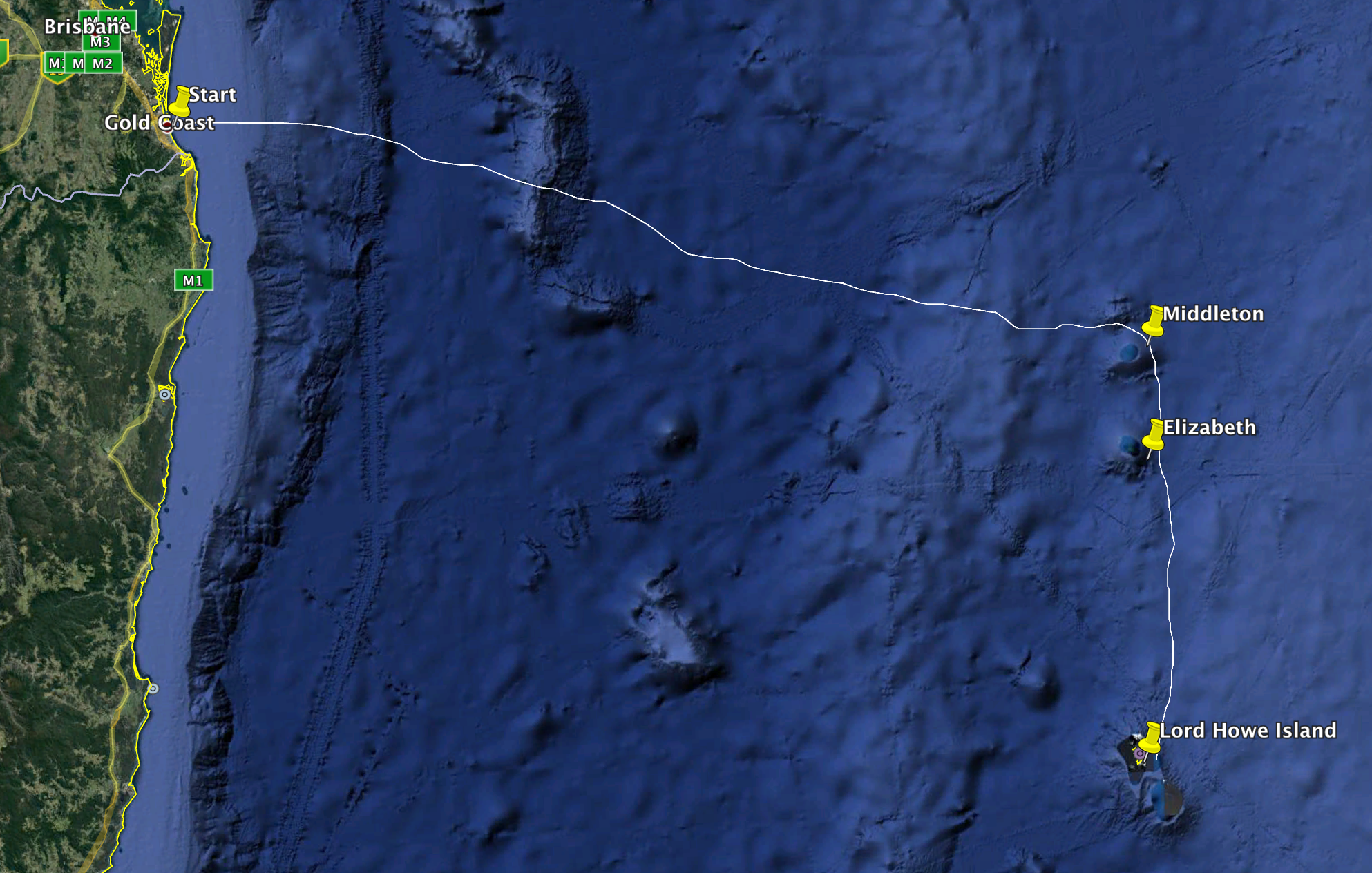 The 450nm route from to Southport to Lord Howe Island via Middleton and Elizabeth Reefs.