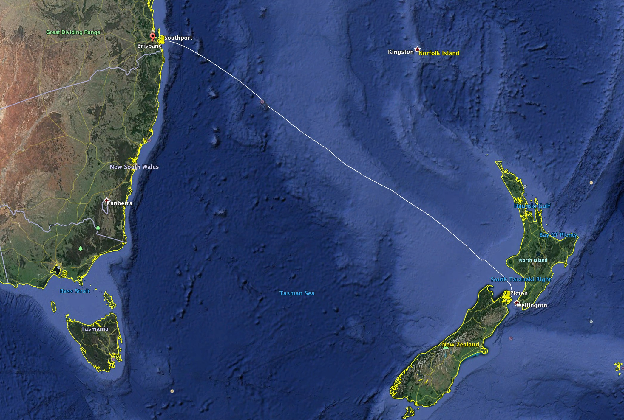 The 1,320nm route from Picton to Southport across the infamous Tasman Sea.