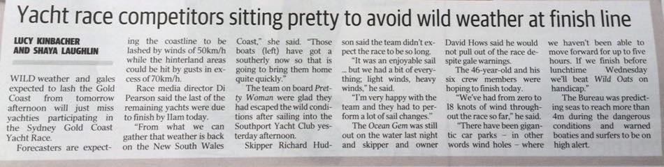 Sydney Gold Coast Race 2016. Gold Coast Bulletin