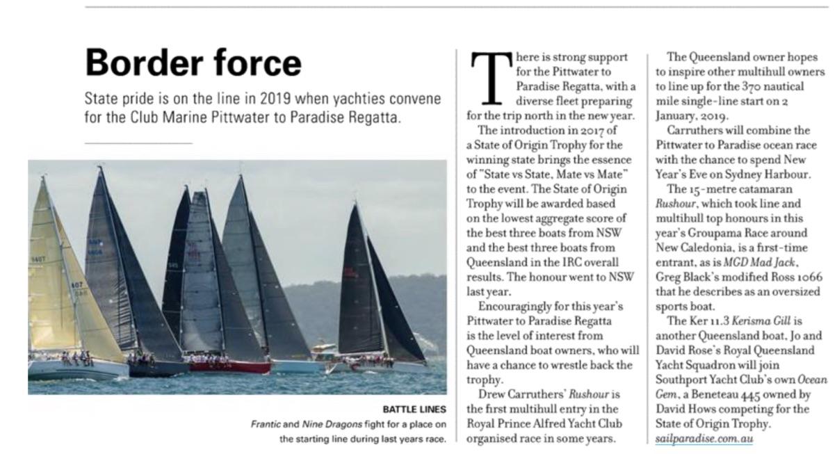 Pittwater to Paradise Regatta 2019. Sails Magazine
