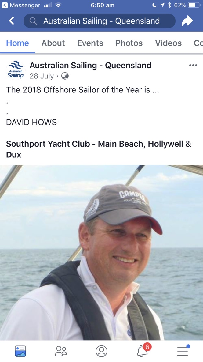 Queensland Offshore Sailor of the Year 2018. Australian Sailing