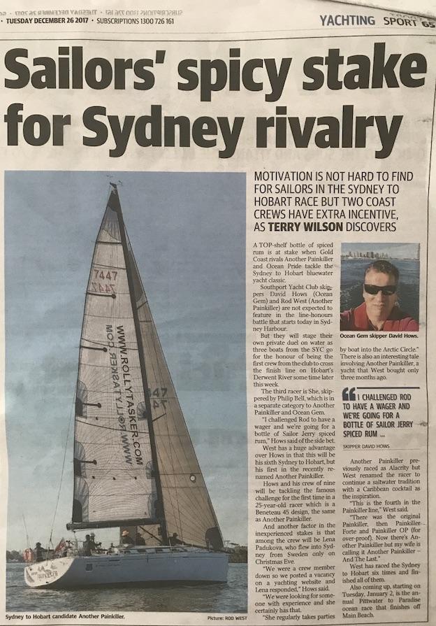 Rolex Sydney Hobart Race 2017. Gold Coast Bulletin