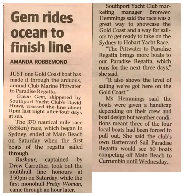 Pittwater to Paradise Regatta 2019. Gold Coast Bulletin