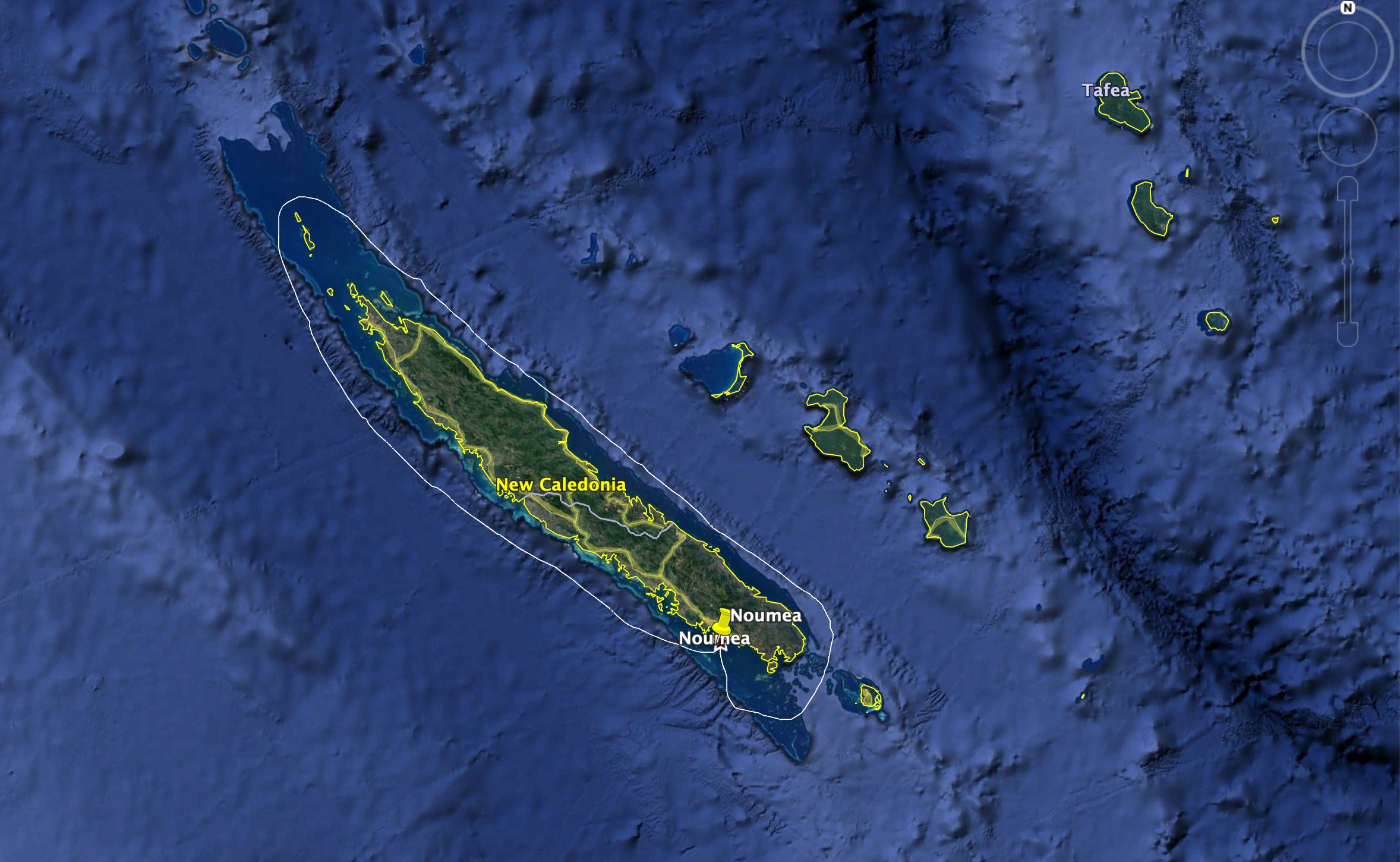 The 650nm route anti-clockwise around New Caledonia. The worlds longest windward/leeward race.
