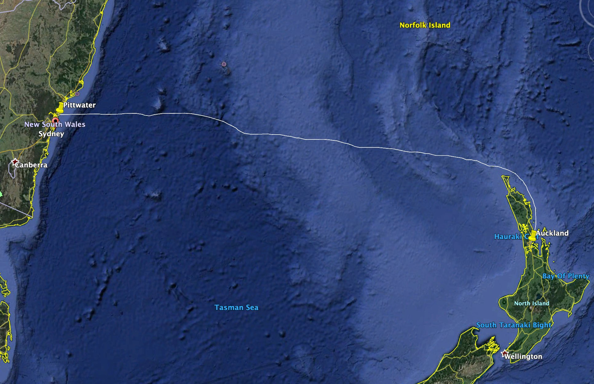 The 1,250nm route from Sydney, Australia to Auckland, New Zealand across the infamous Tasman Sea.