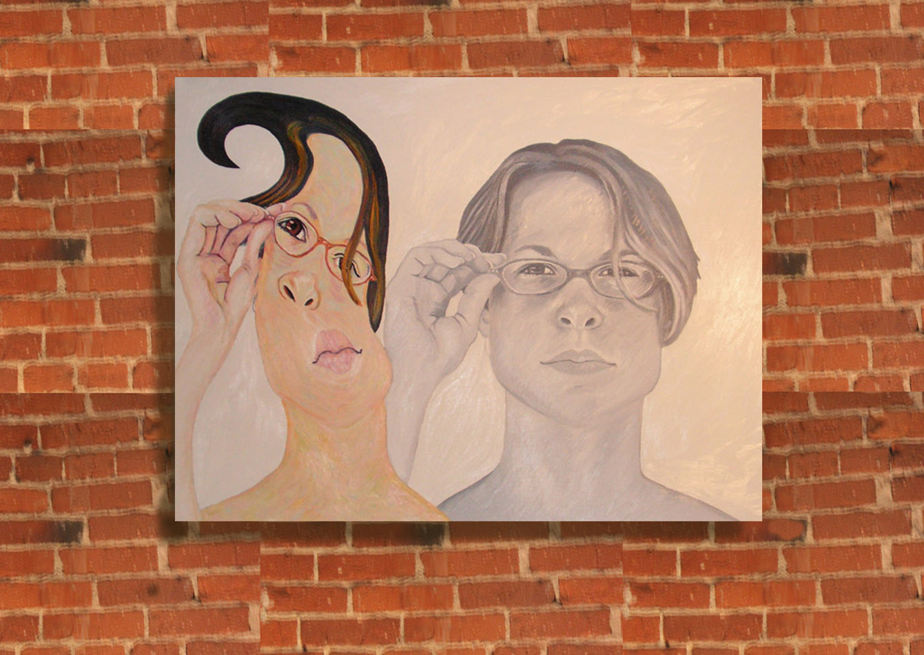 """Glasses Adjust"" oil on linen 24"" x36"""
