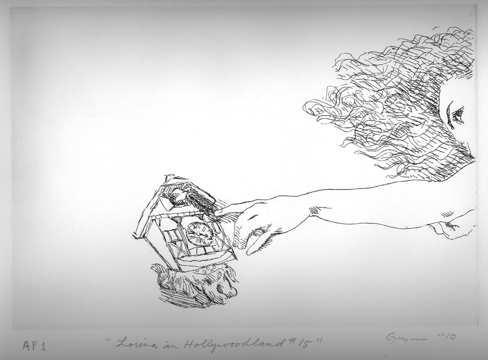 """Etching #15 from the suite """"Lorina in Hollywoodland"""" from 2010-  each of 20 different etchings are 7"""" x 10"""" (image area)"""