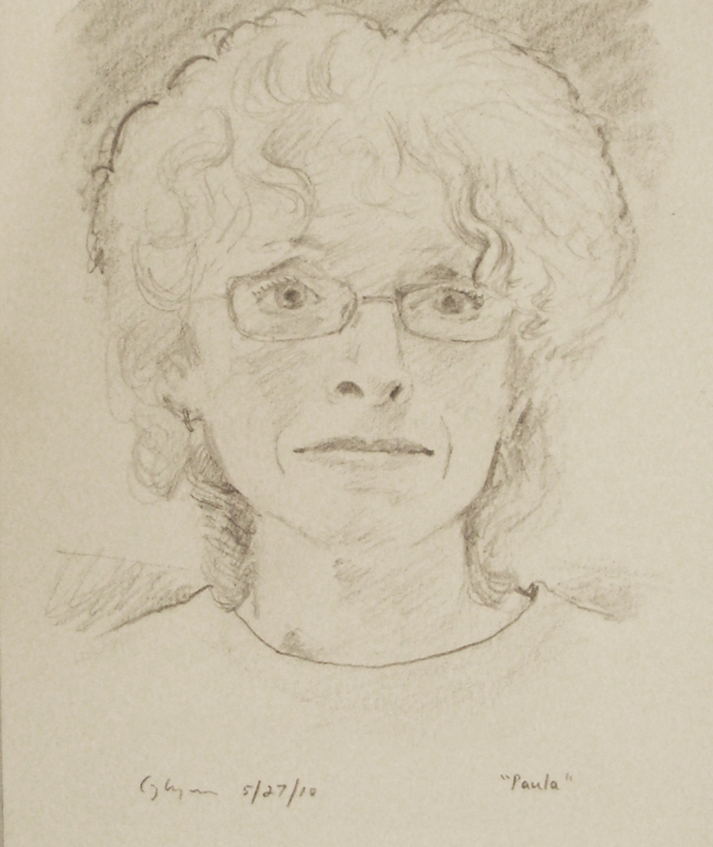"""The artist Paula Marckesano-Jones"" 9"" x 7"" Pencil on paper, 2010"