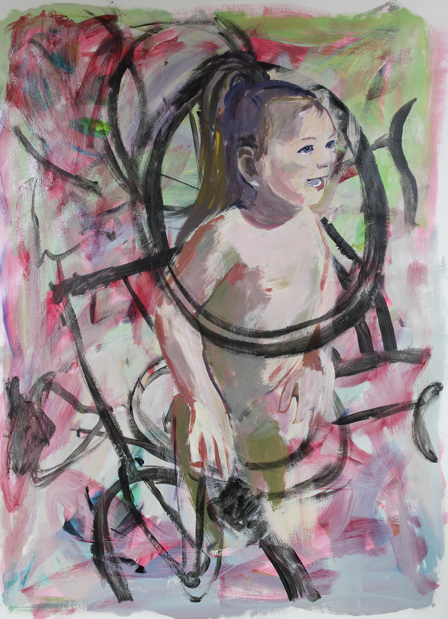 """untitled"" (baby and bicycles)  40"" x 54"" acrylic on paper 2017"
