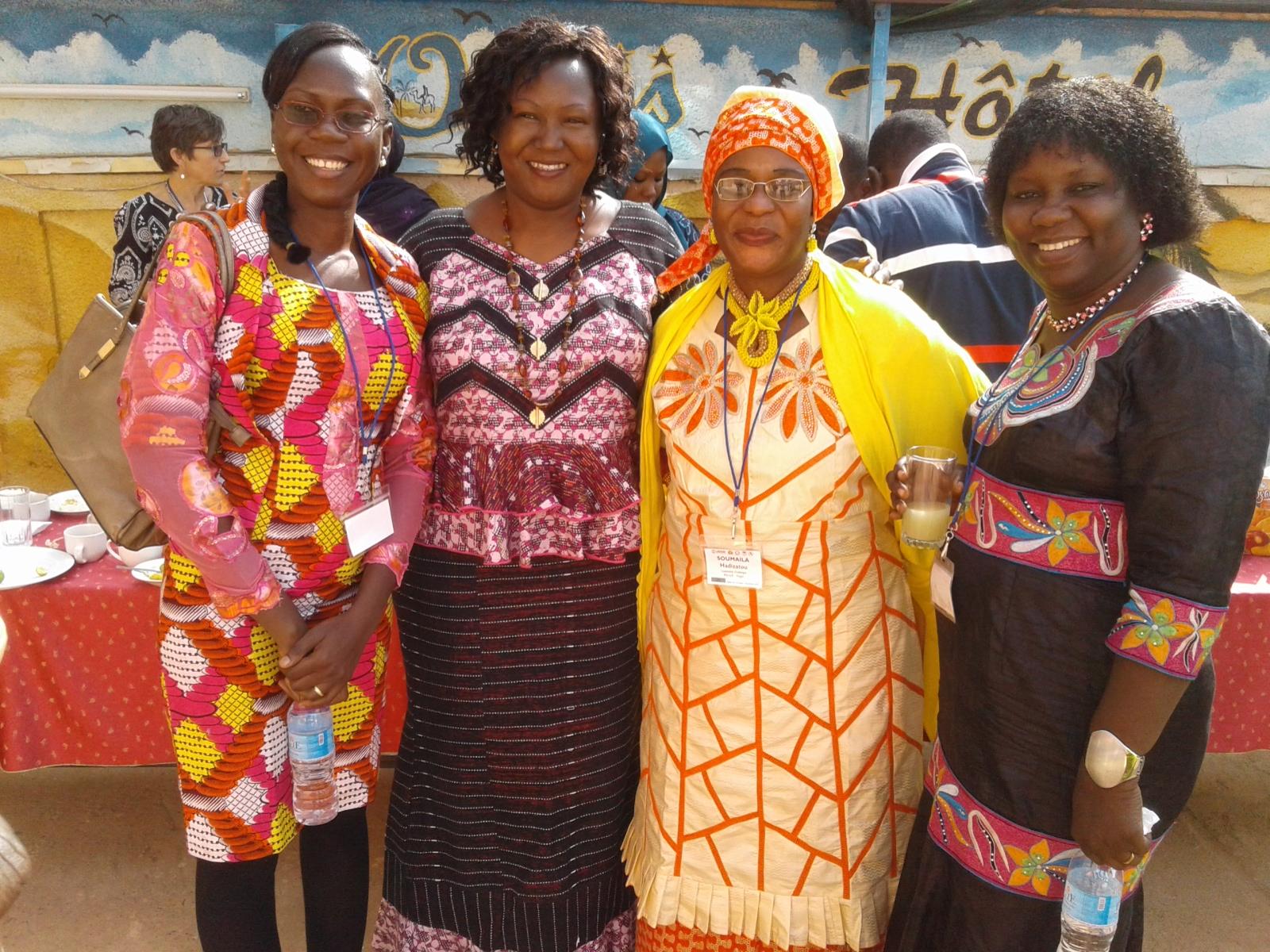 Three SLP Fellows with facilitator Nathalie Sawadogo (2nd from left) of l'Institut Supérieur des Sciences de la Population (ISSP) in Ouagadougou