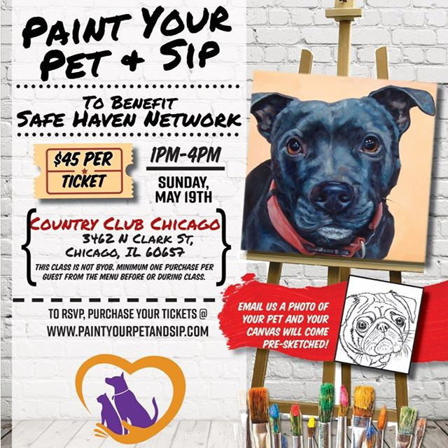 Who's joining us this Sunday for Paint Your Pet & Sip? http://ow.ly/2t1p50u9Pcj #petsarefamilytoo #shnpets #catsofinstagram #dogsofinstagram @realdogmomsofchicago @countryclubchicago @paintyourpet_chi