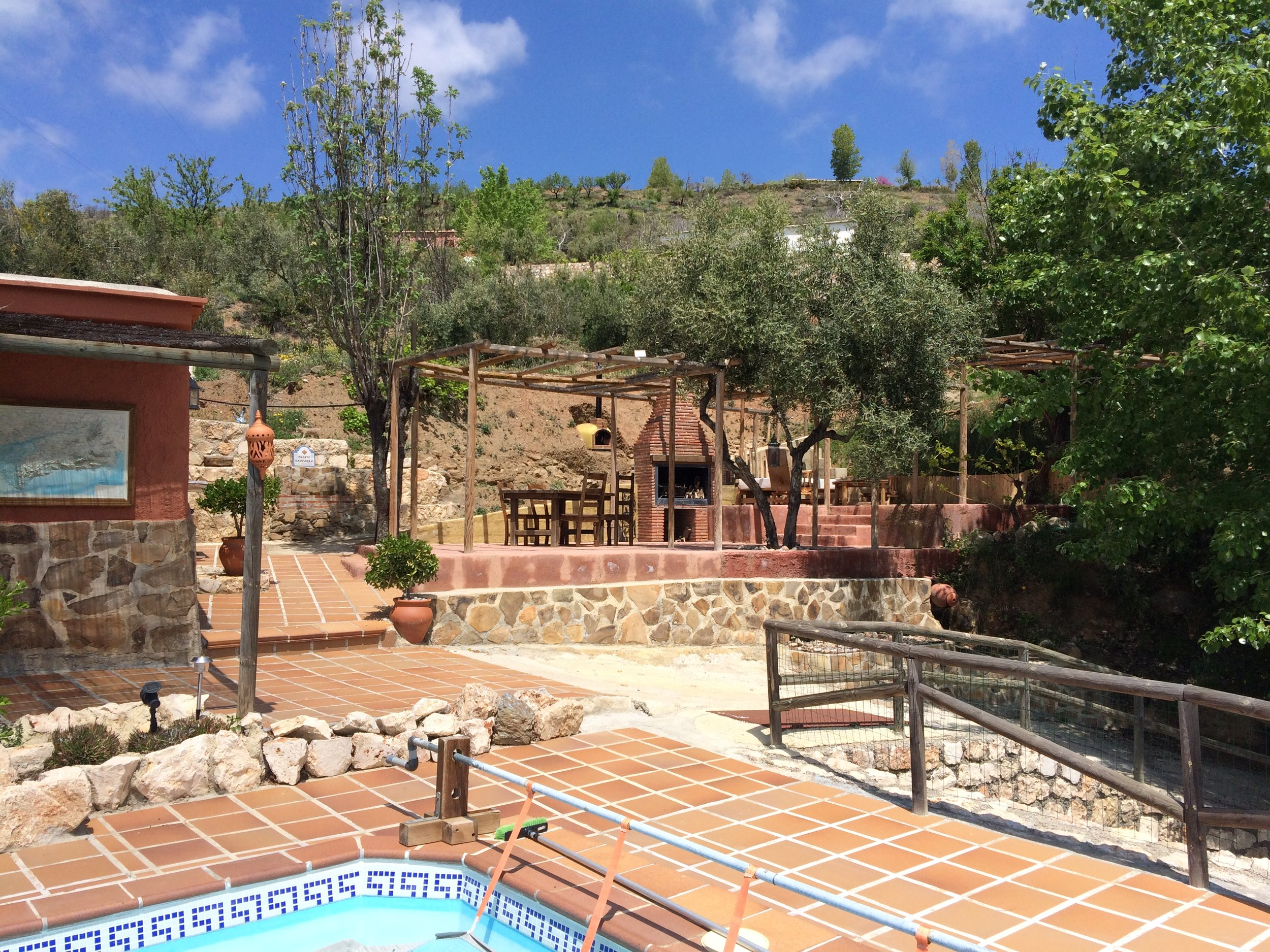 Our Breakfast Terrace, guest lounge with BBQ/Fireplace and Pizza Oven