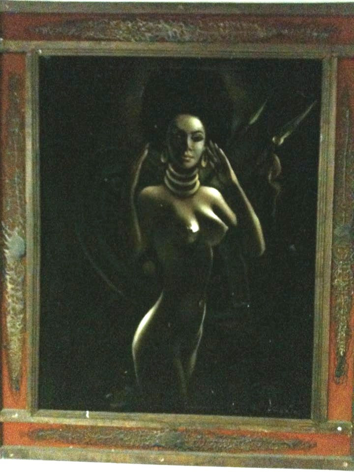 "Home #1 - ""A dark naked woman standing tall in a velvet shadow, afro perfect."""