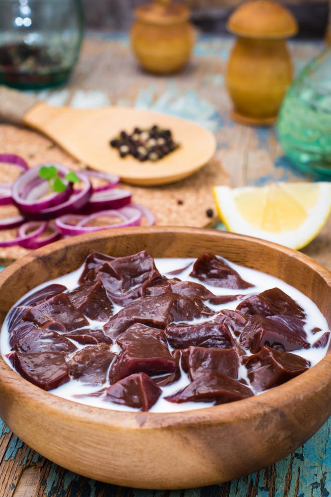 grass fed beef liver soak milk bowl