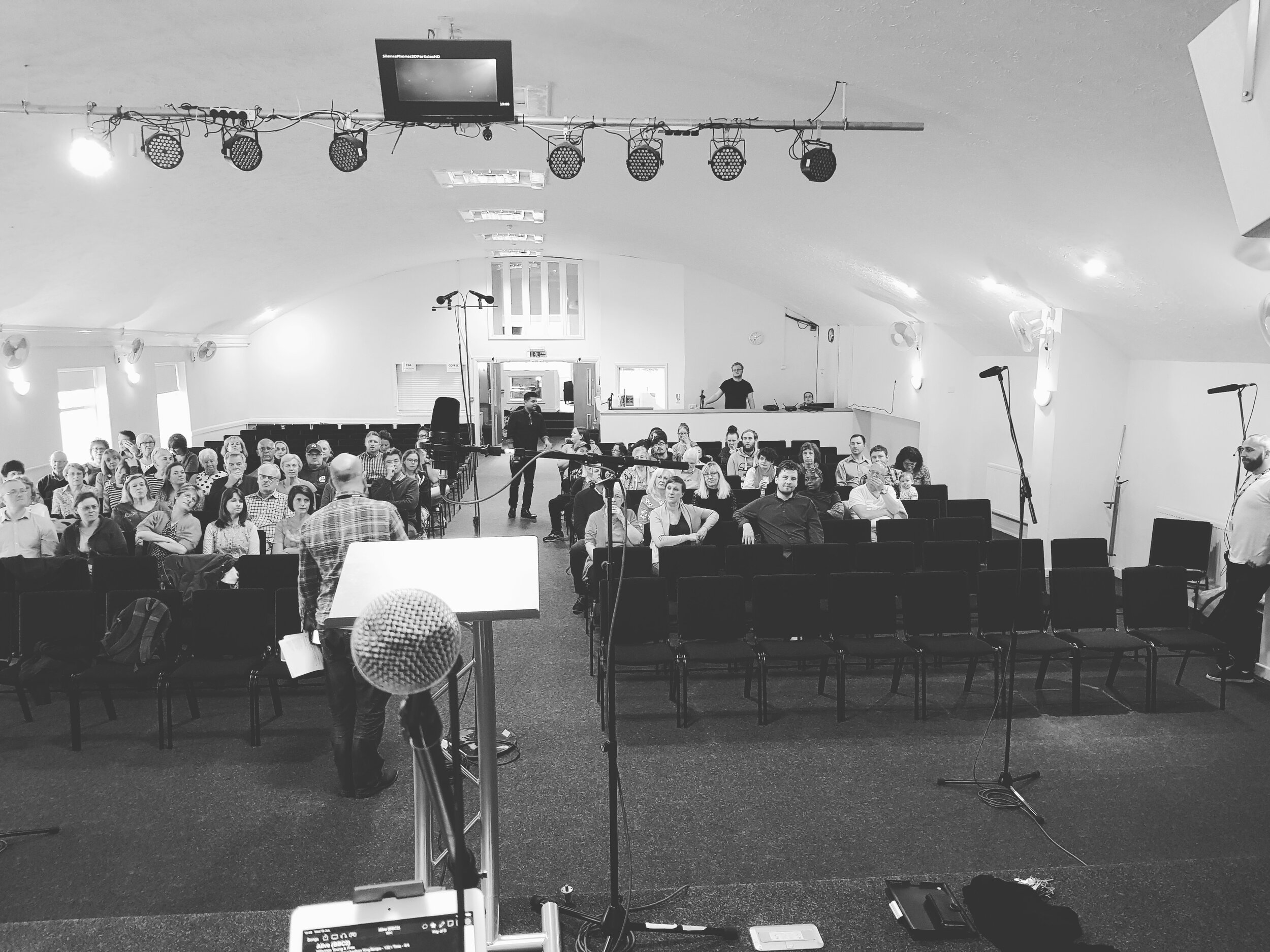 A view from the stage of the BBC live recordings at Gateway Church earlier this summer.