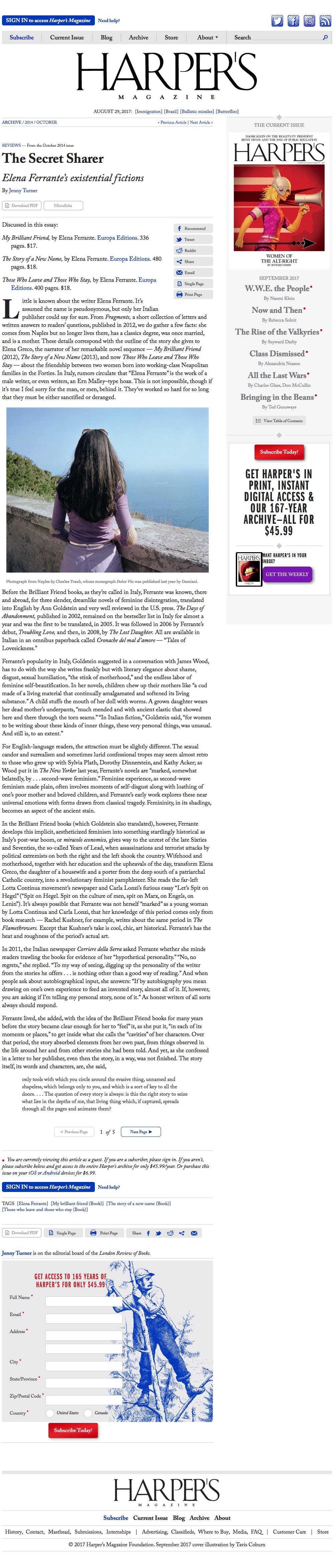 20141015 - Dolce Via mention - Harper's magazine[Reviews] | The Secret Sharer, by Jenny Turner | Harper's Magazine (2017-08-29 14-02-49).jpg